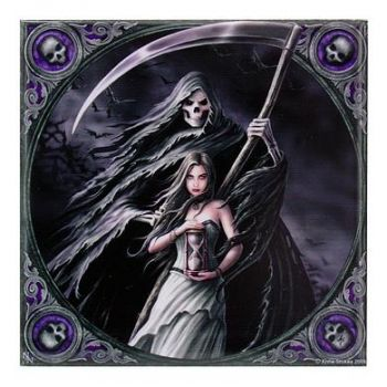 "Tod mit Frau Keramikfliese ""Summon the reaper"" by Anne Stokes"