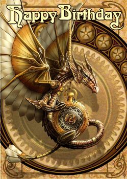 Grußkarte Clockwork Dragon - Anne Stokes