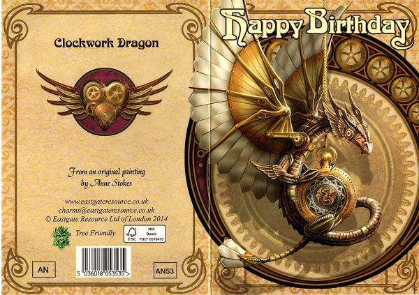 Grußkarte Clockwork Dragon - Anne Stokes Vorne